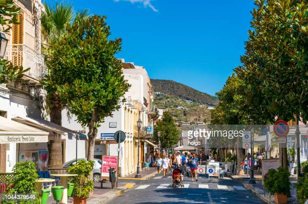 corso vittorio emanuele ii street in lipari town, on the biggest of aeolian islands - aeolian islands stock pictures, royalty-free photos & images