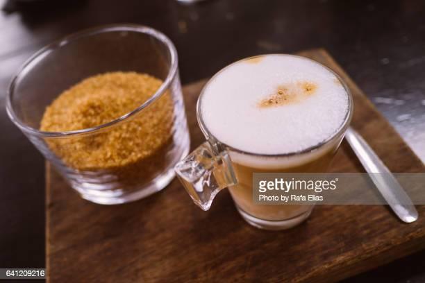 Cortado coffee with brown sugar
