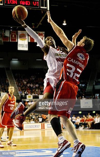 Cortez Groves of the 36ers drives to the basket during the round 10 NBL match between the Wollongong Hawks and the Adelaide 36ers at Wollongong...