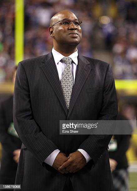 Cortez Kennedy a recent electee to the Pro Football Hall of Fame poses on the field before Super Bowl XLVI at Lucas Oil Stadium on February 5 2012 in...