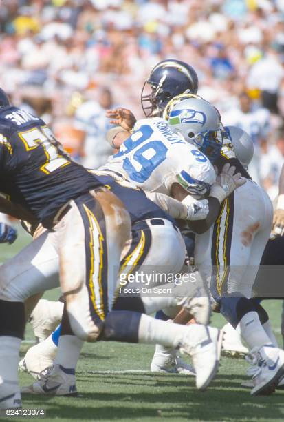 Cortez Kennedy of the Seattle Seahawks in action against the San Diego Chargers during an NFL football game October 4 1992 at Jack Murphy Stadium in...