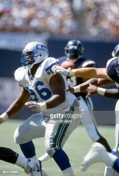 Cortez Kennedy of the Seattle Seahawks in action against the San Diego Chargers during an NFL football game September 5 1993 at Jack Murphy Stadium...