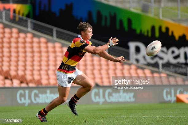 Cortez Ratima of Waikato passes the ball during the round 7 Mitre 10 Cup match between Waikato and Taranaki at FMG Stadium on October 25 2020 in...