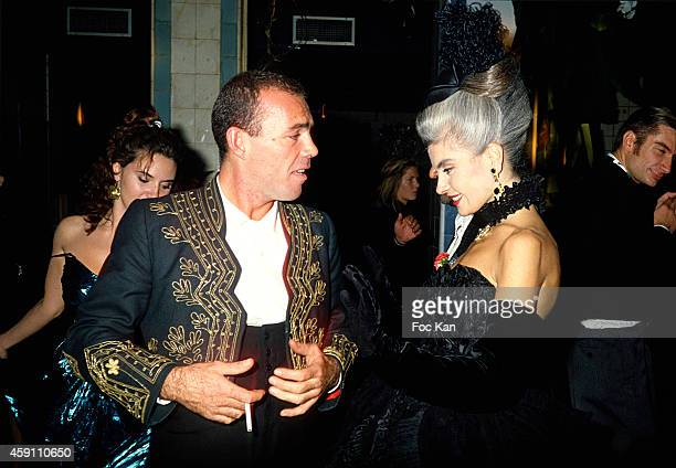 Corti and Marie Seznec attend a Christian Lacroix ashion week Party at Les Bains Douches in the 1980s in Paris France