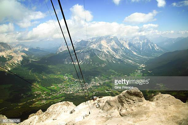 cortina d'ampezzo view from tofana-freccia nel cielo cableway, veneto, italy. - cielo stock pictures, royalty-free photos & images