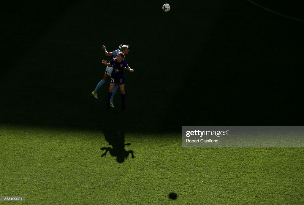 Cortnee Vine of the Jets and Alanna Kennedy of Melbourne City during the round three W-League match between Melbourne City and the Newcastle Jets at AAMI Park on November 12, 2017 in Melbourne, Australia.