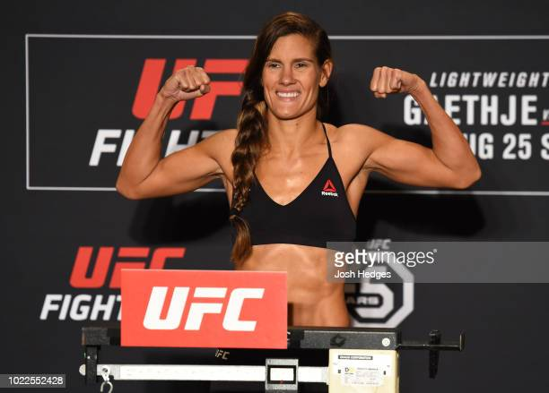 Cortney Casey poses on the scale during the UFC weighin on August 24 2018 in Lincoln Nebraska