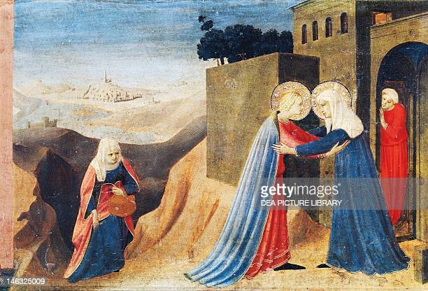 Cortona Museo Diocesano Mary's visit to Elizabeth detail from the predella of the Annunciation of Cortona ca 1430 by Giovanni da Fiesole known as Fra...