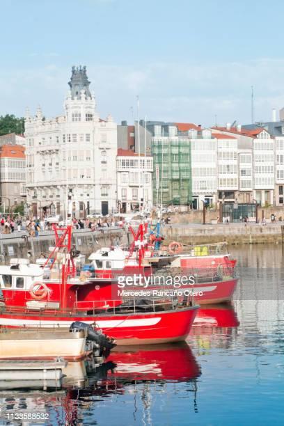 a coruña city, 'galerías' facades, cityscape and old harbor. - a coruna stock pictures, royalty-free photos & images