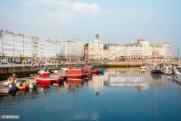 coruña city, 'galerías' facades, skyline and old harbor. - a coruna stock pictures, royalty-free photos & images