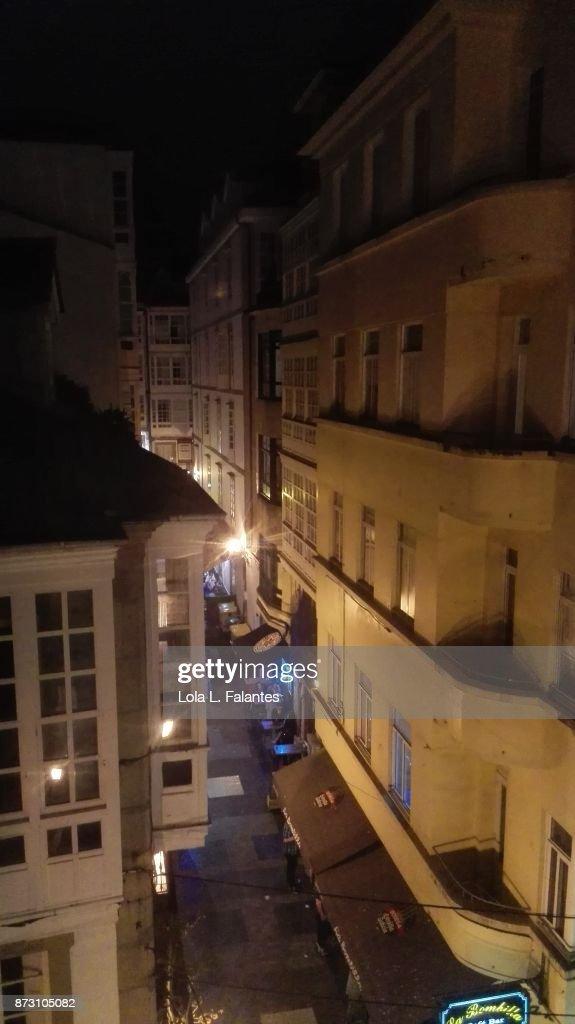 A Coruña street at night : Foto de stock