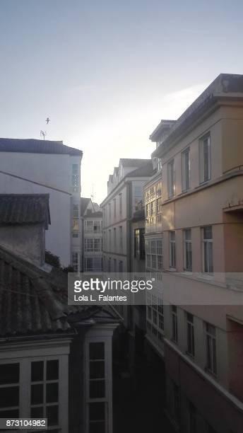 A Coruña street at sunrise