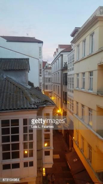 A Coruña street at sunset