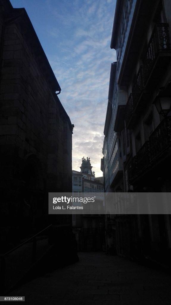 A Coruña street at sunset : Foto de stock