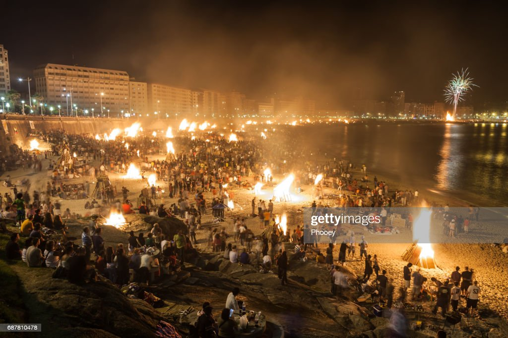 Corunna Bonfires of Saint John : Stock Photo