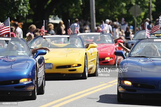 corvette club in july 4th parade rochester new york - chevrolet corvette stock pictures, royalty-free photos & images