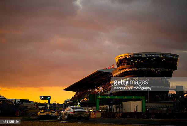 Corvette Racing of Jan Magnussen Antonio Garcia and Jordan Taylor leads the Porsche Team Manthey of Marco Holzer Frederic Makowiecki and Richard...