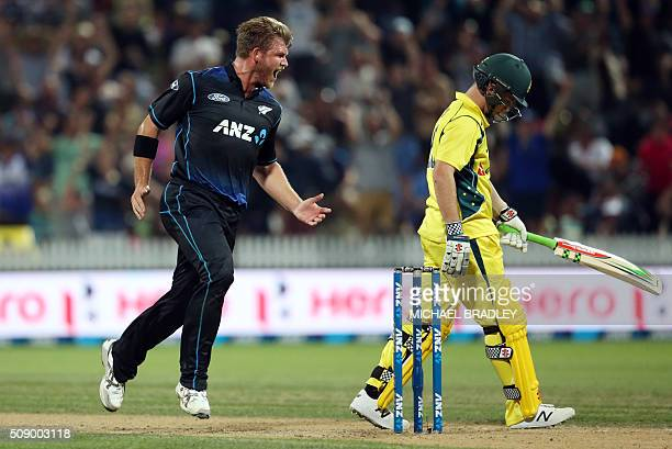Cory Anderson of New Zealand celebrates the wicket of Adam Zampa of Australia during the third oneday international cricket match between New Zealand...