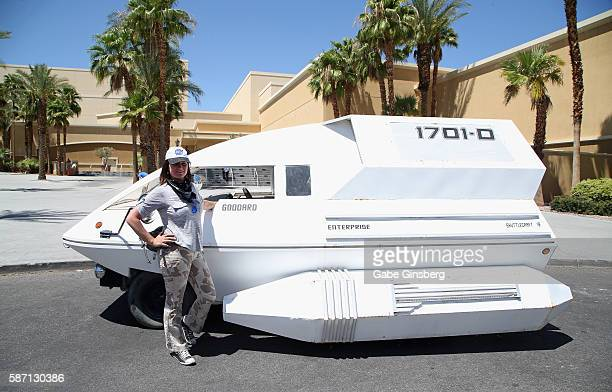 Cory Bocskor of Nevada poses next to her Ford Aerostar designed by Robert Strever to look like a shuttlecraft from 'Star Trek' television franchise...