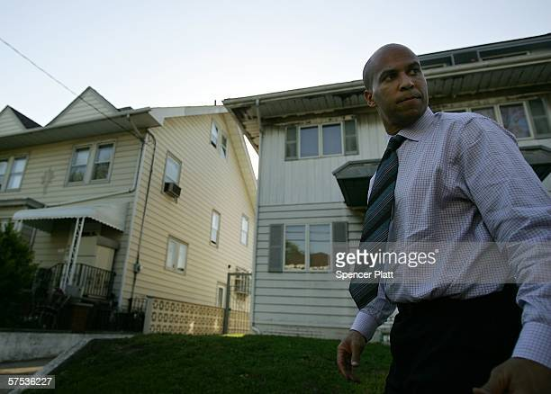 Cory Booker a Democratic candidate for mayor of Newark campaigns May 04 2006 in Newark New Jersey Booker who holds degrees from Yale Oxford and...