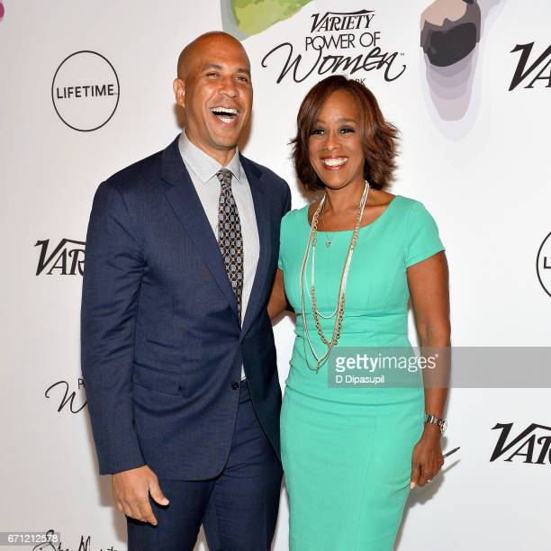 Cory Booker and Gayle King attend Variety's Power of Women New York at Cipriani Midtown on April 21 2017 in New York City