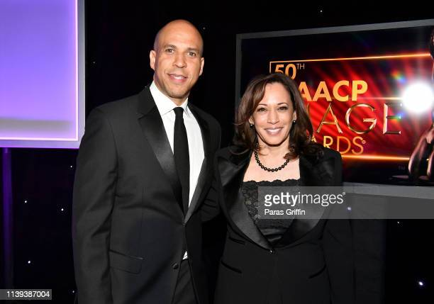 Cory Booker and Kamala Harris attend the 50th NAACP Image Awards at Dolby Theatre on March 30, 2019 in Hollywood, California.