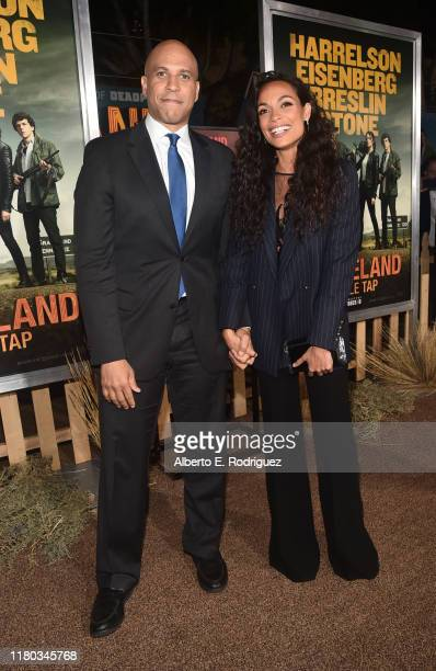 """Cory Booker and Rosario Dawson attend the premiere of Sony Pictures' """"Zombieland Double Tap"""" at The Regency Village Theatre on October 10, 2019 in..."""