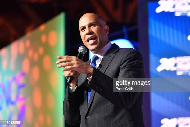 Cory Booker speaks on stage at 2019 ESSENCE Festival Presented By CocaCola at Ernest N Morial Convention Center on July 06 2019 in New Orleans...