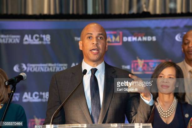 Cory Booker speaks onstage at the CBCF Chair and Board of Directors Reception for the 48th Annual Congressional Black Caucus Foundation on September...