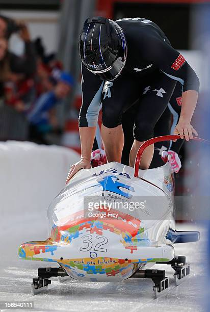 Cory Butner and Charles Berkeley of the USA take second place in the FIBT men's bobsled world cup heat 1, on November 16, 2012 at Utah Olympic Park...