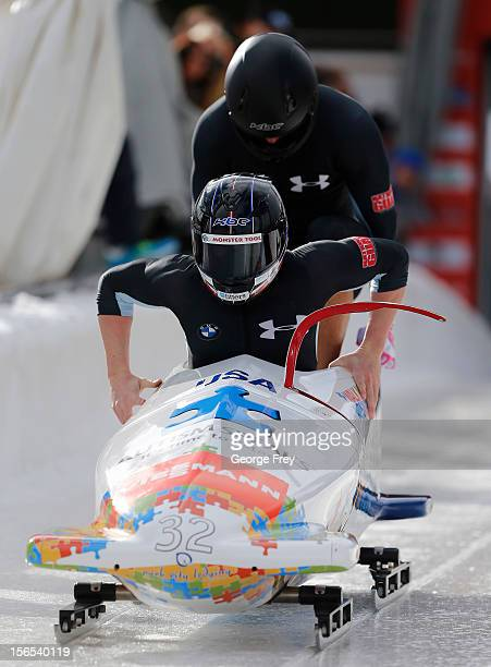 Cory Butner and Charles Berkeley of the USA takes second place in the FIBT men's bobsled world cup heat 1, on November 16, 2012 at Utah Olympic Park...
