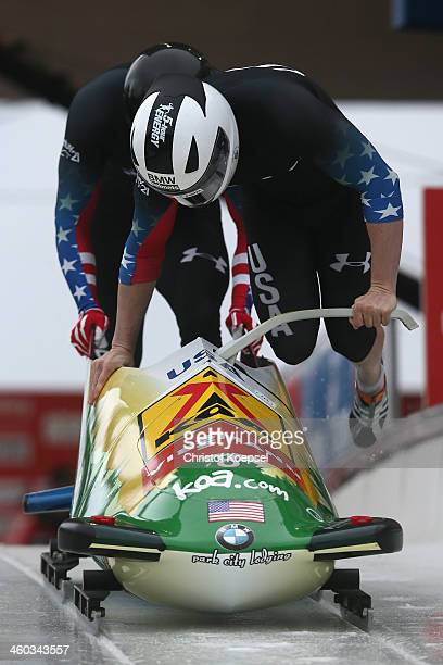 Cory Butner and Charles Berkeley of United States compete in their first run of the two man bob competition during the FIBT Bob & Skeleton World Cup...
