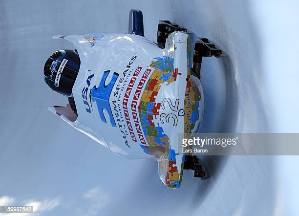 Cory Butner and his brakeman Christopher Fogt of USA take a run during a training session at Olympia Bob Run on January 24 2013 in St Moritz...