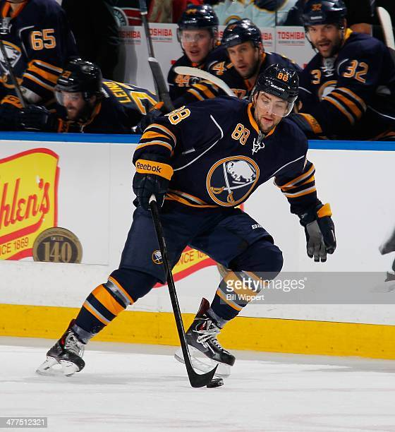 Cory Conacher of the Buffalo Sabres skates against the Chicago Blackhawks on March 9 2014 at the First Niagara Center in Buffalo New York