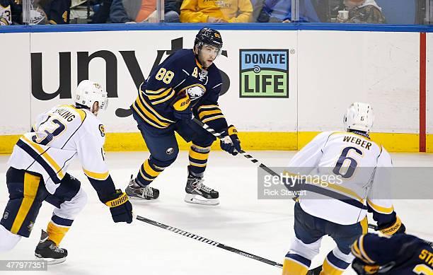 Cory Conacher of the Buffalo Sabres skates against the Nashville Predators at First Niagara Center on March 11 2014 in Buffalo New York