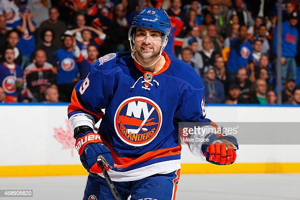 Cory Conacher of the New York Islanders skates against the Winnipeg Jets at Nassau Veterans Memorial Coliseum on October 28, 2014 in Uniondale, New...