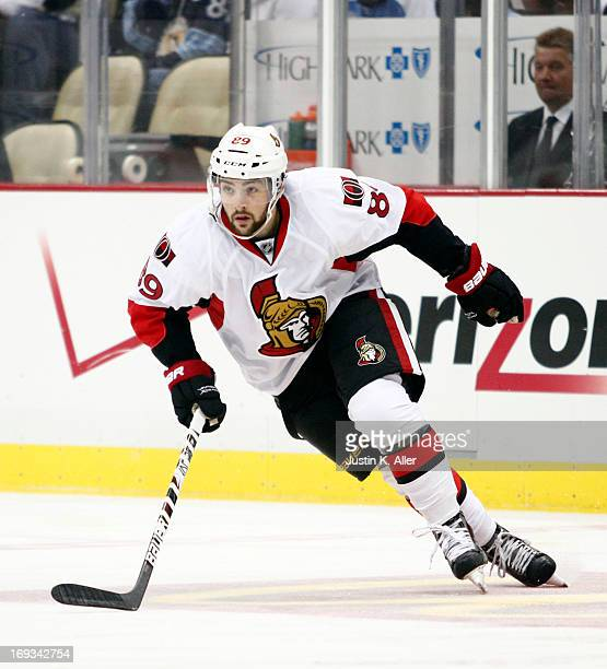 Cory Conacher of the Ottawa Senators skates against the Pittsburgh Penguins in Game Two of the Eastern Conference Semifinals during the 2013 NHL...