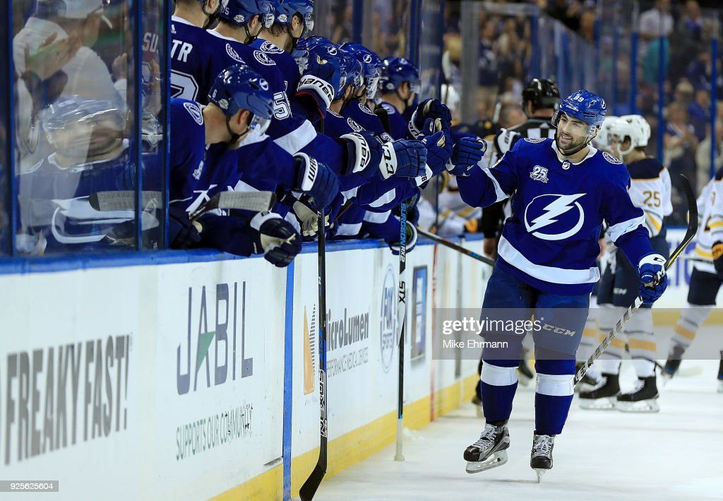 Cory Conacher #89 of the Tampa Bay Lightning celebrates a goal during a game against the Buffalo Sabres at Amalie Arena on February 28, 2018 in Tampa, Florida.