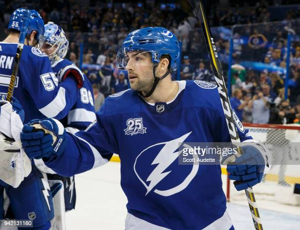 Cory Conacher of the Tampa Bay Lightning celebrates the win against the Boston Bruins at Amalie Arena on April 3 2018 in Tampa Florida n