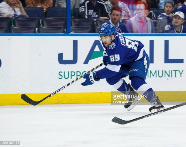 Cory Conacher of the Tampa Bay Lightning skates against the Edmonton Oilers during the third period at Amalie Arena on March 18 2018 in Tampa Florida...