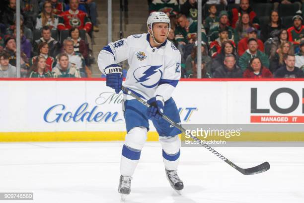 Cory Conacher of the Tampa Bay Lightning skates against the Minnesota Wild during the game at the Xcel Energy Center on January 20 2018 in St Paul...