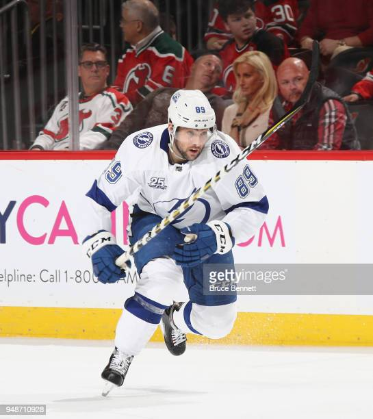 Cory Conacher of the Tampa Bay Lightning skates against the New Jersey Devils in Game Four of the Eastern Conference First Round during the 2018 NHL...