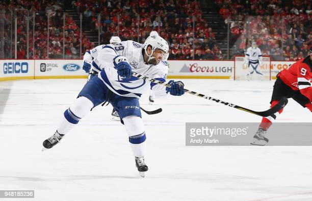Cory Conacher of the Tampa Bay Lightning skates in Game Three of the Eastern Conference First Round against the New Jersey Devils during the 2018 NHL...