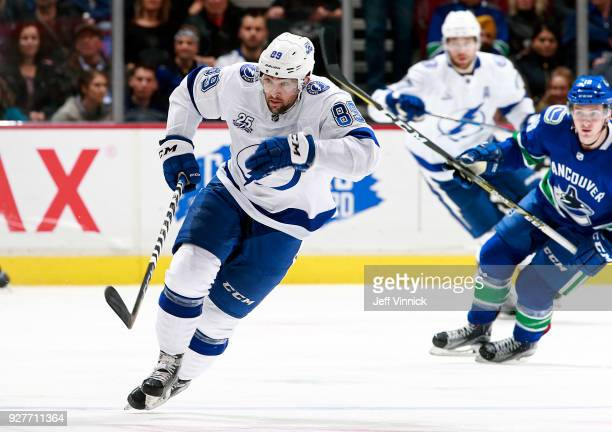 Cory Conacher of the Tampa Bay Lightning skates up ice during their NHL game against the Vancouver Canucks at Rogers Arena February 3 2018 in...