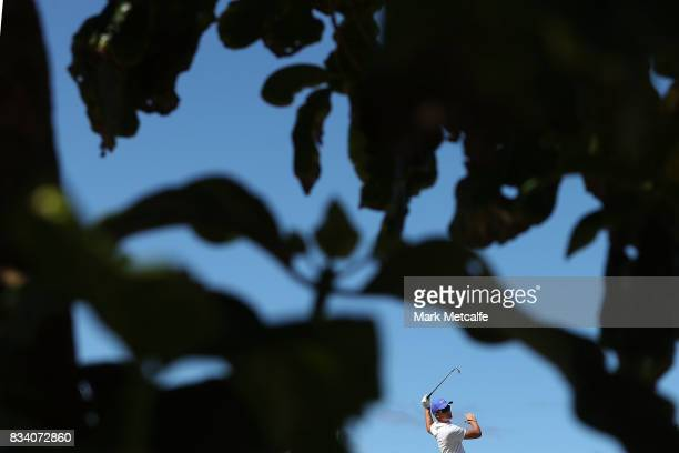 Cory Crawford of Australia hits his tee shot on the 8th hole during day two of the 2017 Fiji International at Natadola Bay Championship Golf Course...