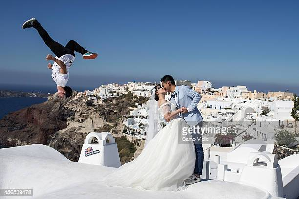 Cory DeMeyers of the United States performs during the preshoot for the Red Bull Art of Motion on October 2 2014 in Santorini Island Greece