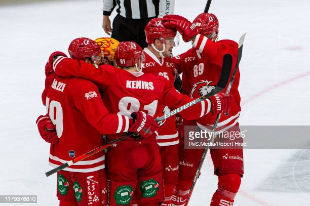 Cory Emmerton of Lausanne HC celebrates his goal with teammates during the Swiss National League game between Lausanne HC and SC Bern at Vaudoise...