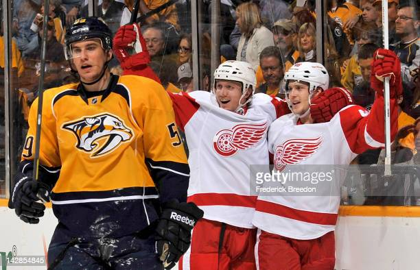 Cory Emmerton of the Detroit Red Wings celebrates a goal against the Nashville Predators in Game Two of the Western Conference Quarterfinals during...