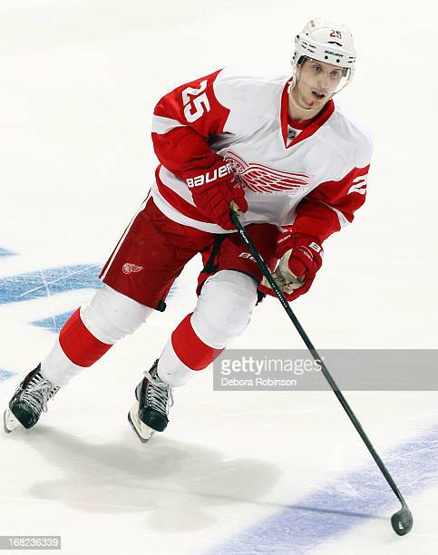 Cory Emmerton of the Detroit Red Wings skates against the Anaheim Ducks in Game One of the Western Conference Quarterfinals during the 2013 NHL...