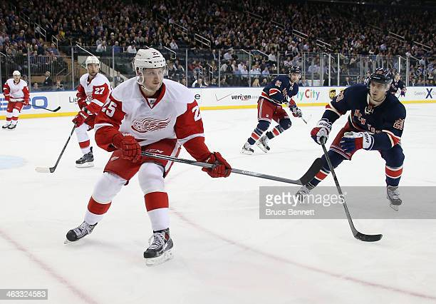 Cory Emmerton of the Detroit Red Wings skates against the New York Rangers at Madison Square Garden on January 16 2014 in New York City The Rangers...